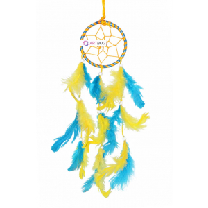 Ashvah Natural Feather Small Dream Catcher Hanging for Cars/Rooms (3 inch) - for Positive Energy and Protection (Blue/Yellow) (Pack of 1)