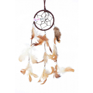 Ashvah Natural Feather Small Dream Catcher Hanging for Cars/Rooms (3 inch) - for Positive Energy and Protection (Brown/White) (Pack of 1)
