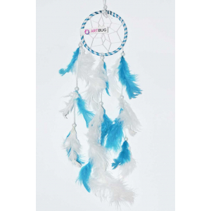 Ashvah Natural Feather Small Dream Catcher Hanging for Cars/Rooms (3 inch) - for Positive Energy and Protection (Blue/White) (Pack of 1)