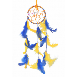 Ashvah Natural Feather Small Dream Catcher Hanging for Cars/Rooms (3 inch) - for Positive Energy and Protection (Yellow/Blue) (Pack of 1)