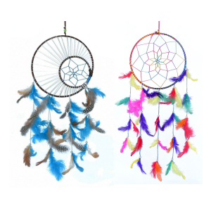 Dream Catcher Multi Color or Moon Crescent Dream Catcher Wall Hangings (8 Inch) (6inch) (Large) for Positive Energy and Protection