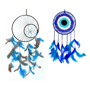 Dream Catcher Evil Eye (6inch) and Multi Color Moon Crescent Dream Catcher Wall Hangings (8 Inch) (Large Size) for Positive Energy and Protection
