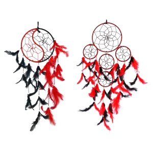 Dream Catcher Natural Feathers Yin Yang Black and Red and 5 Round Dream Catcher Wall Hanging for Positive Energy and Protection (6 Inch) for Home/Office/Shop/Rooms